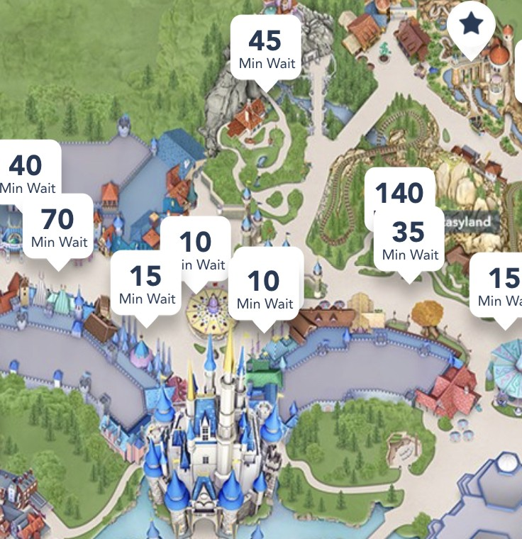 Wait times on a map of Magic Kingdom - Fastpass