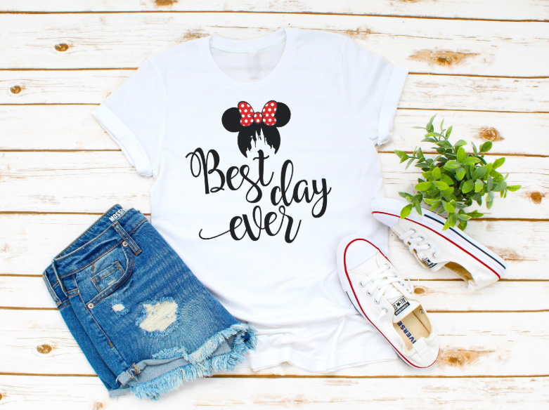 best day ever minnie mouse and cinderella's castle t-shirt