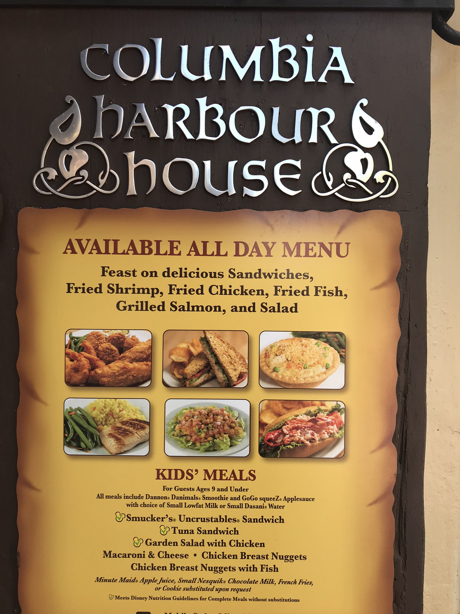 Columbia Harbor House Menu with pictures