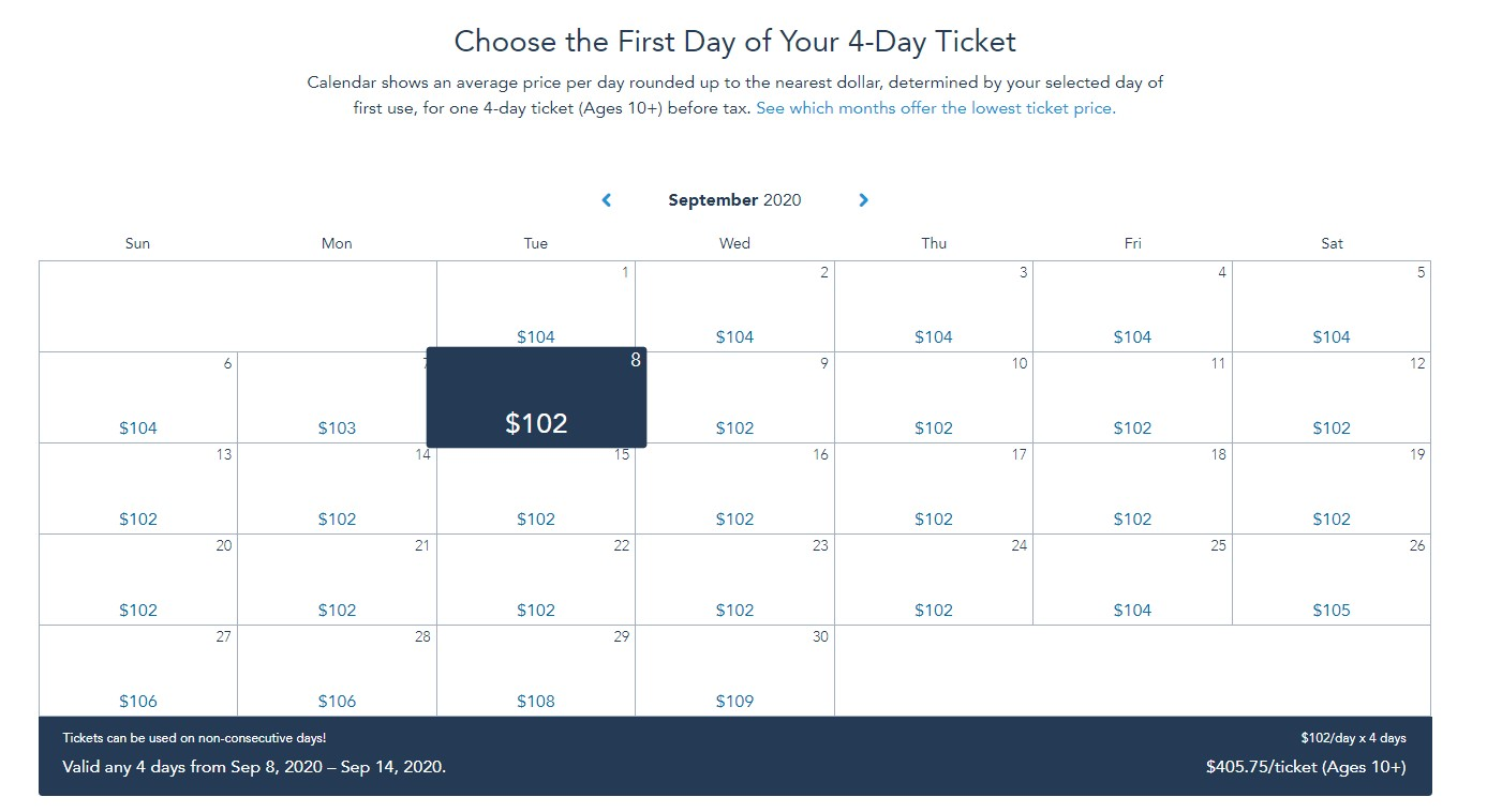 calendar with disney ticket pricing