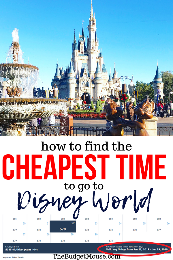 Learn how to find the cheapest time to go to Disney World based on ticket and hotel prices! The cost of a visit to Disney World fluctuates wildly throughout the year so you can save hundreds (if not thousands) by visiting at the cheapest time! Get the cheapest dates to go to Disney in this post and do DIsney World on a budget. #disneyworldonabudget #dineyworldtips #cheapesttimetogotodisneyworld
