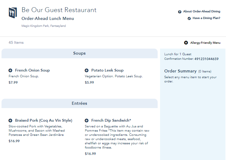 Be our guest restaurant order ahead lunch menu