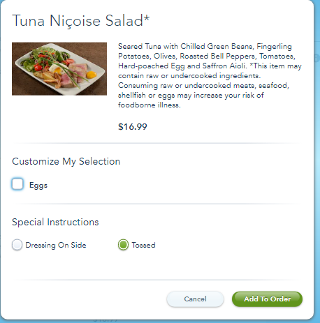 mobile ordering screen for the Tuna Nicoise Salad