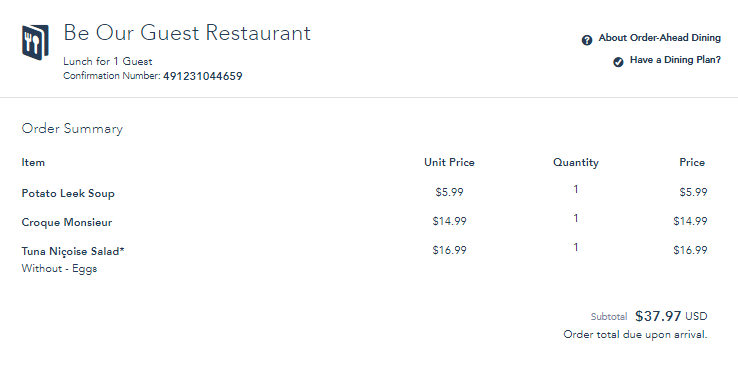 be our guest restaurant order summary