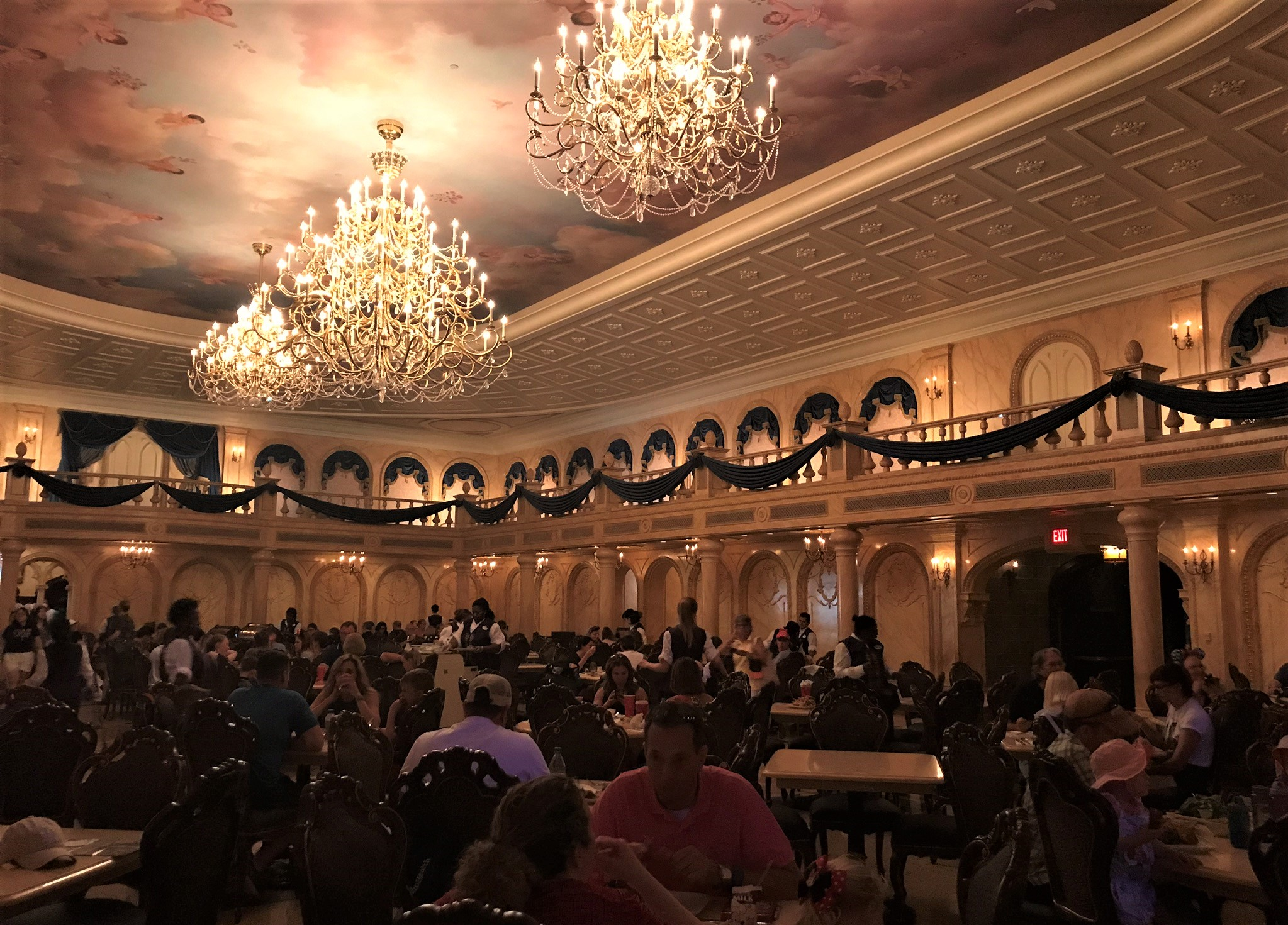 grand ballroom at be our guest restaurant - best quick service magic kingdom restaurant
