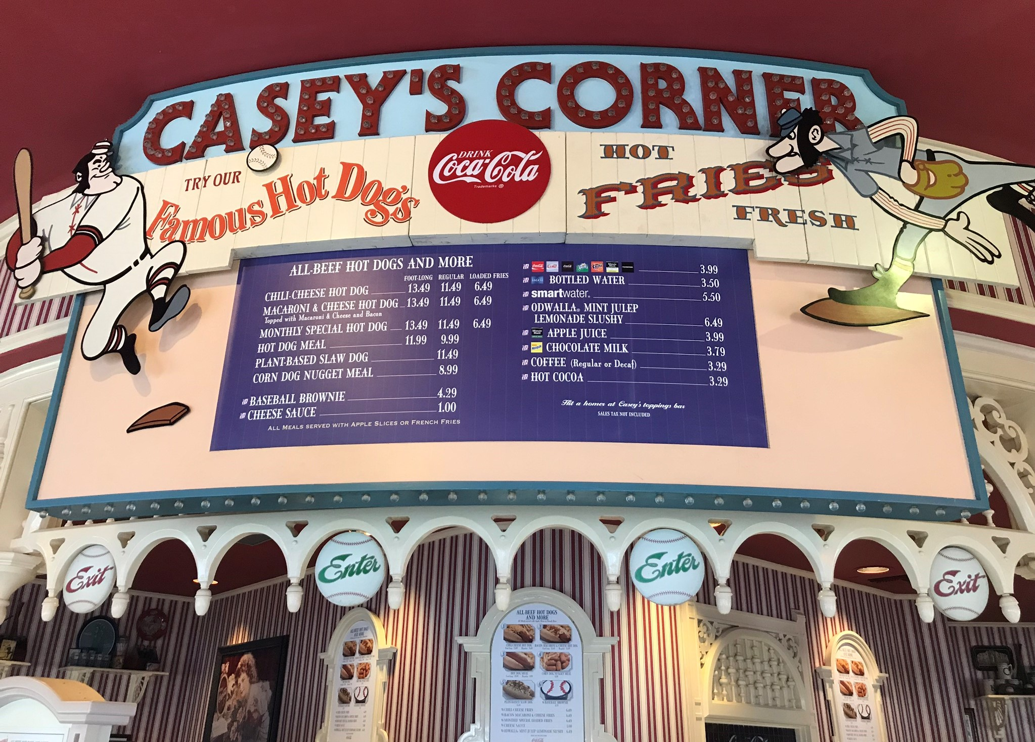 casey's corner menu sign