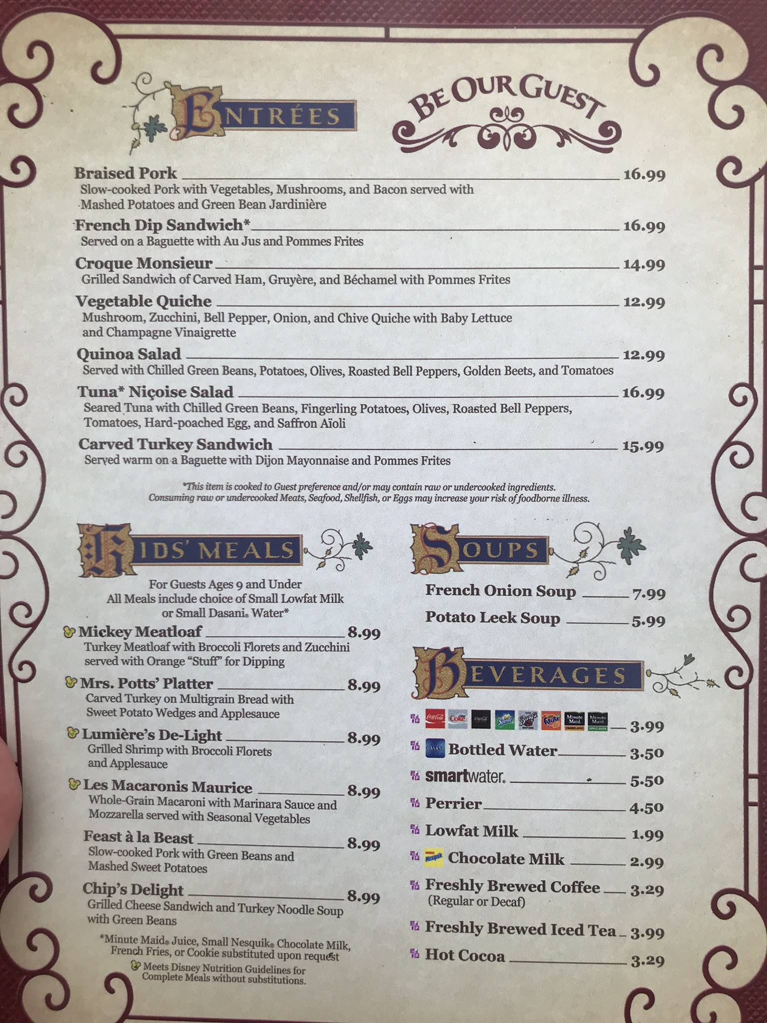 lunch menu at be our guest