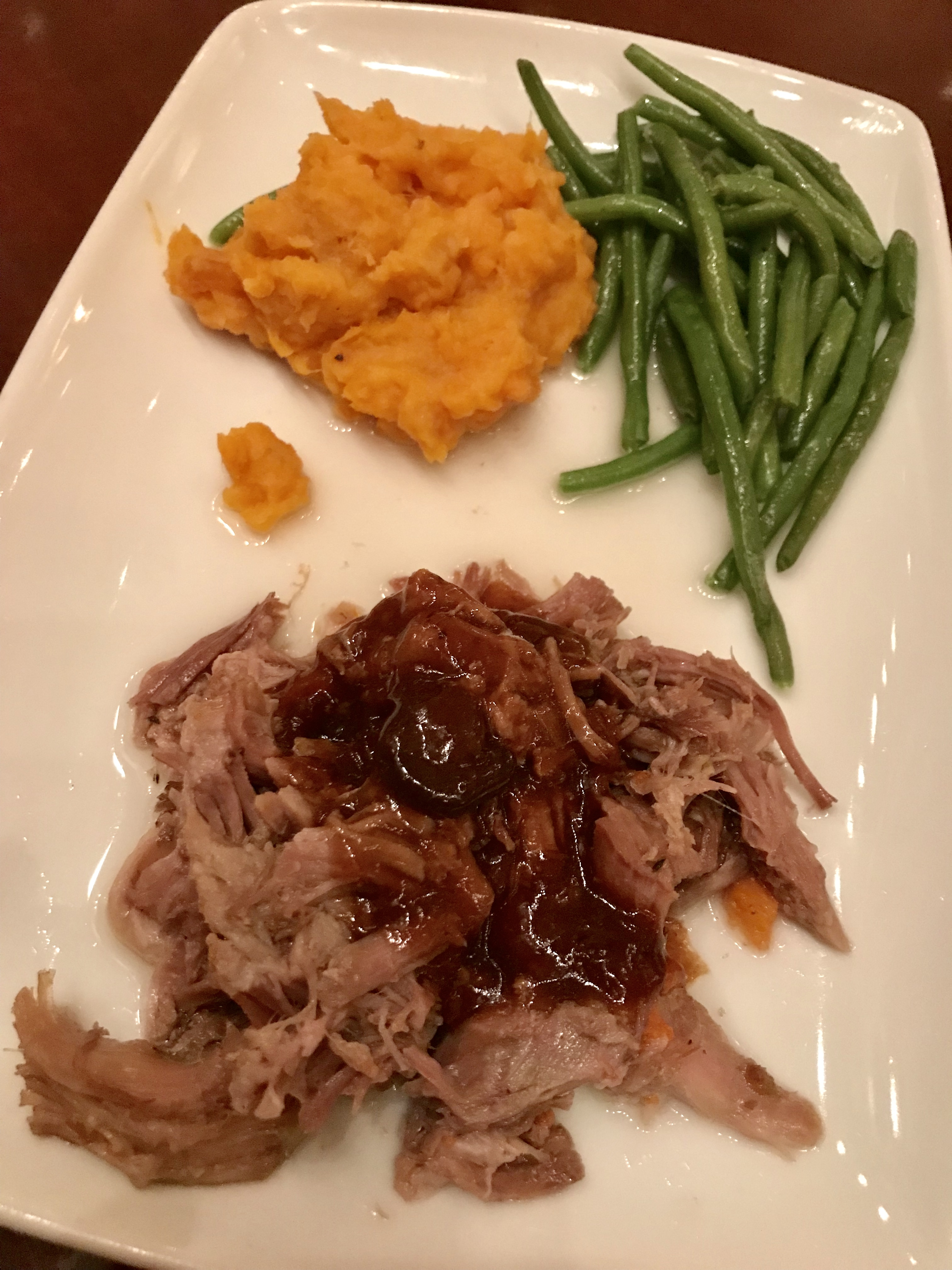 kid's portion of the braised pork meal