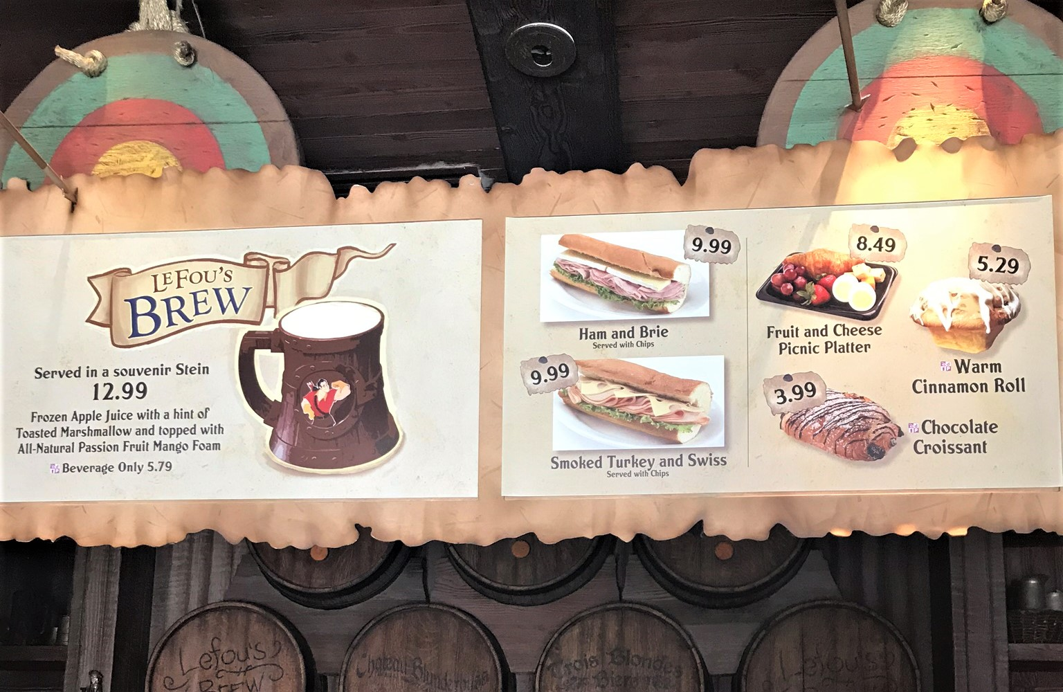 gaston's tavern menu sign