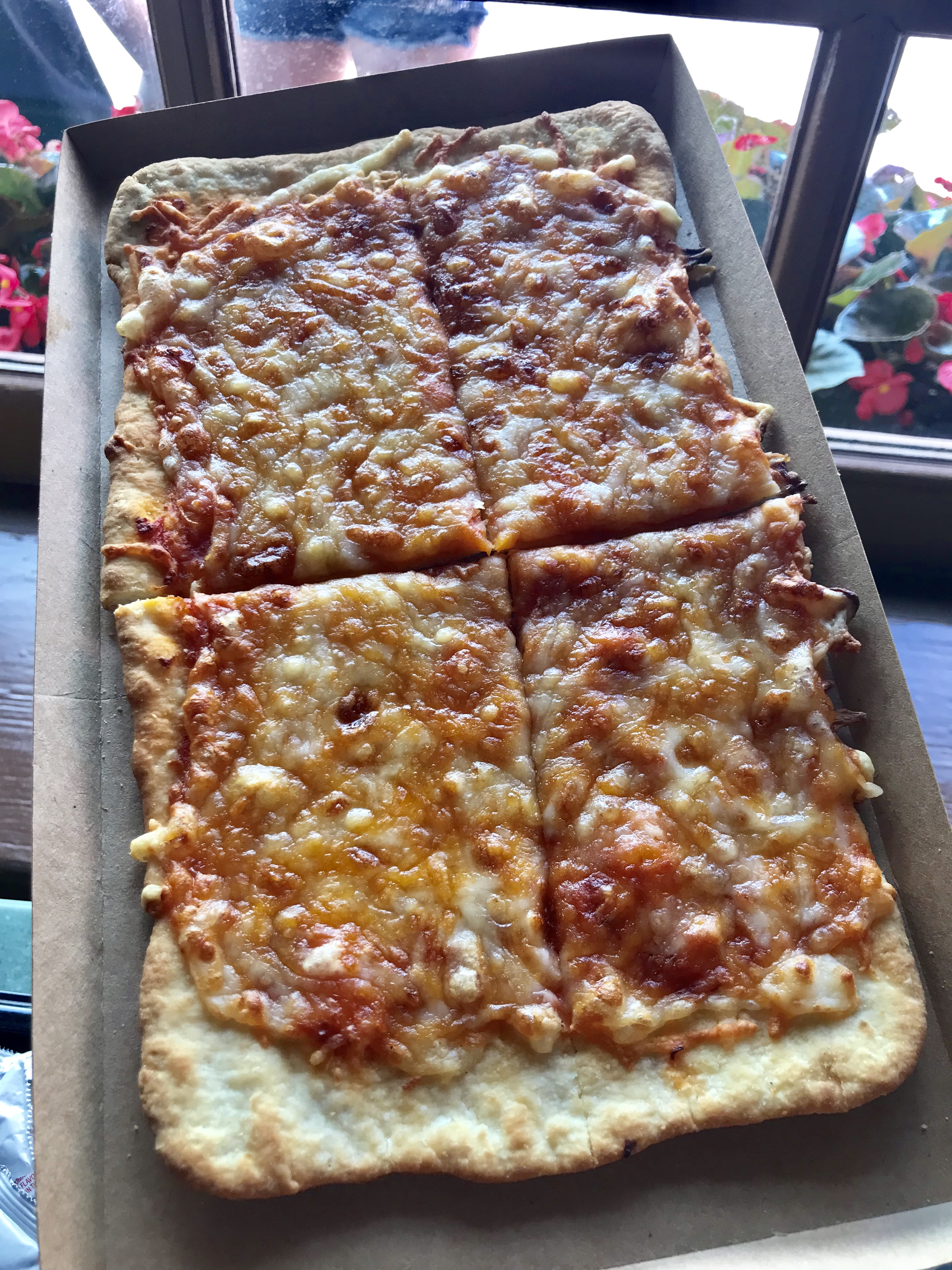 cheese pizza flatbread from pinocchio village haus