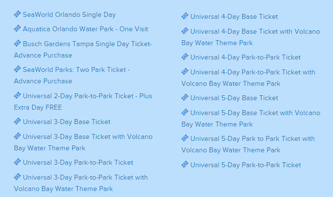 list of seaworld and universal tickets to purchase on undercover tourist