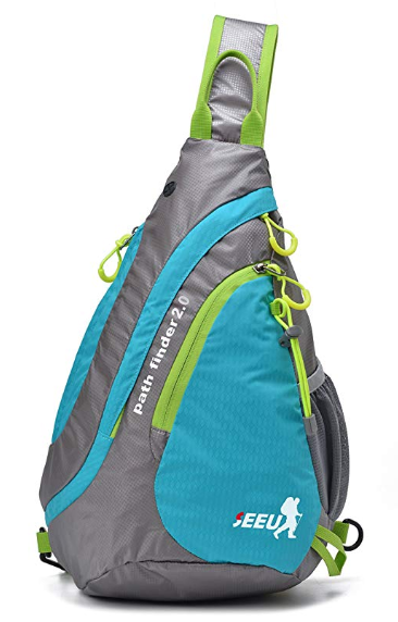 blue, gray, and green sling backpack
