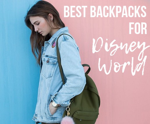 Best backpacks for disney world pinterest image with girl and backpack