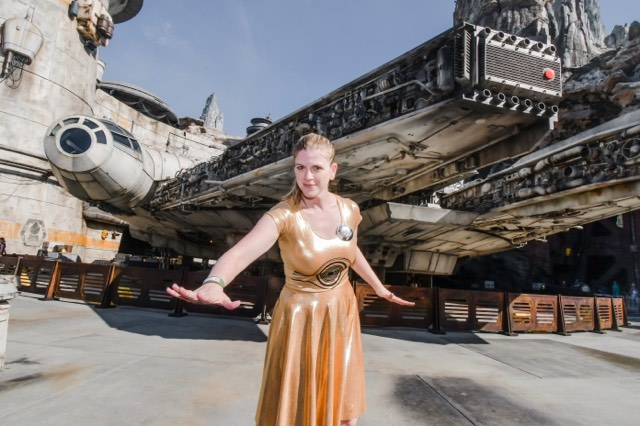 Julie in star wars inspired dress in galaxy's edge