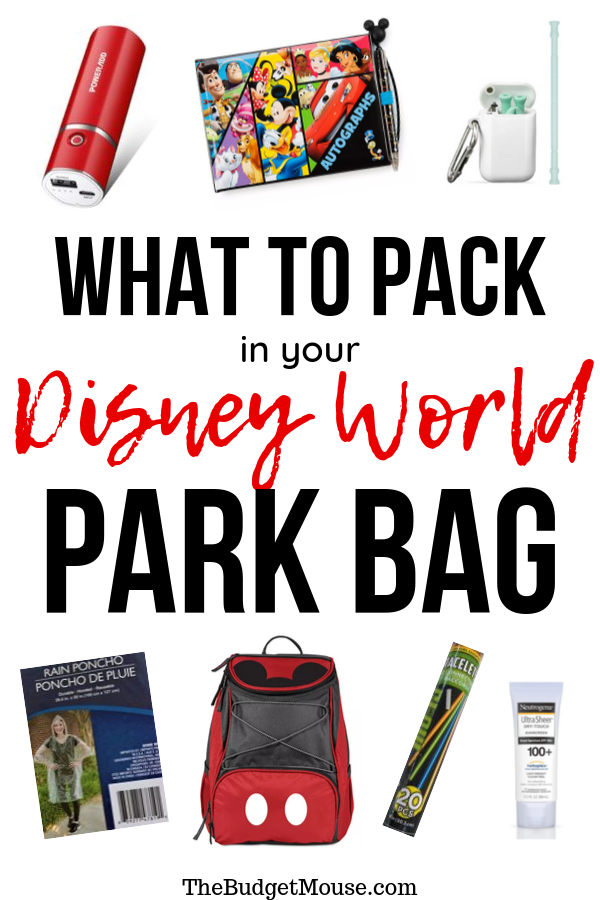what to pack in your disney world park bag pinterest image