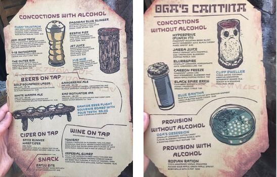 Oga's Cantina hand menu
