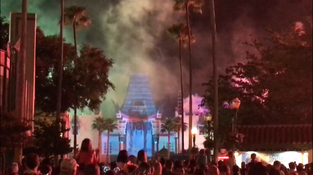 fireworks and projection show in front of the Chinese Theater