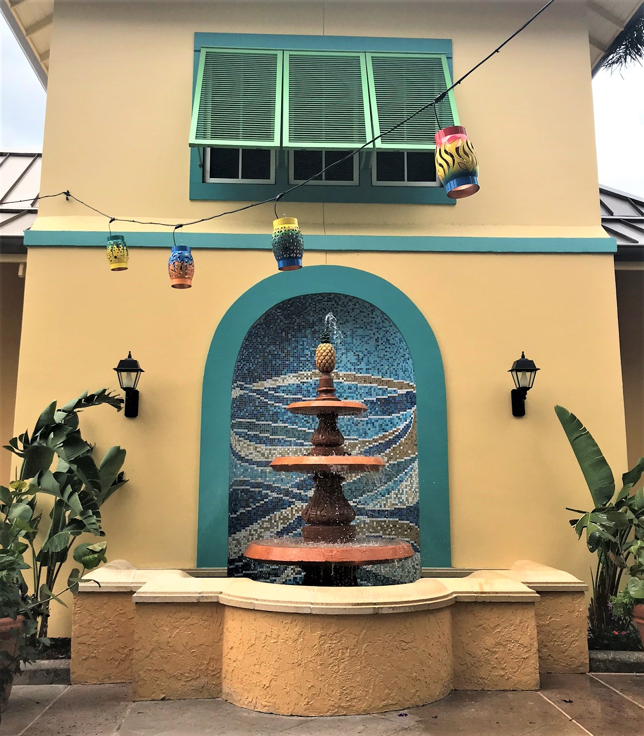 exterior fountain at caribbean beach resort