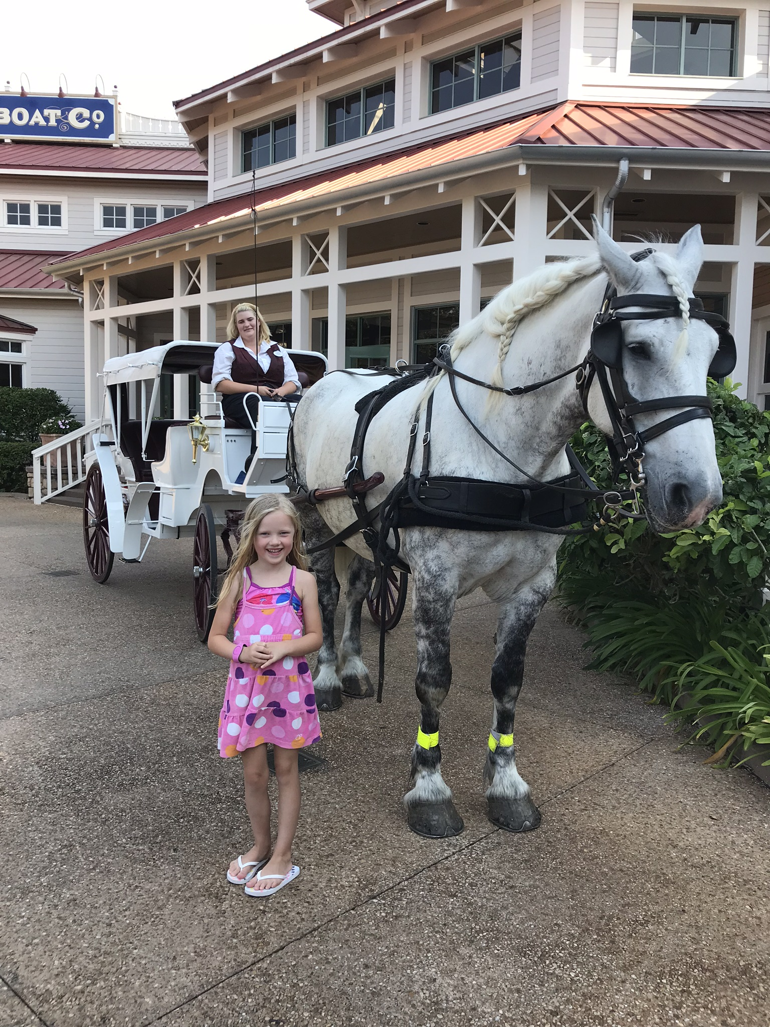 little girl standing in front of a horse and carriage