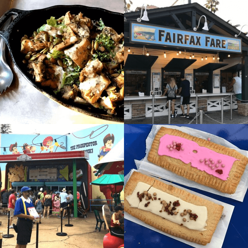 Collage of best hollywood studios quick service food