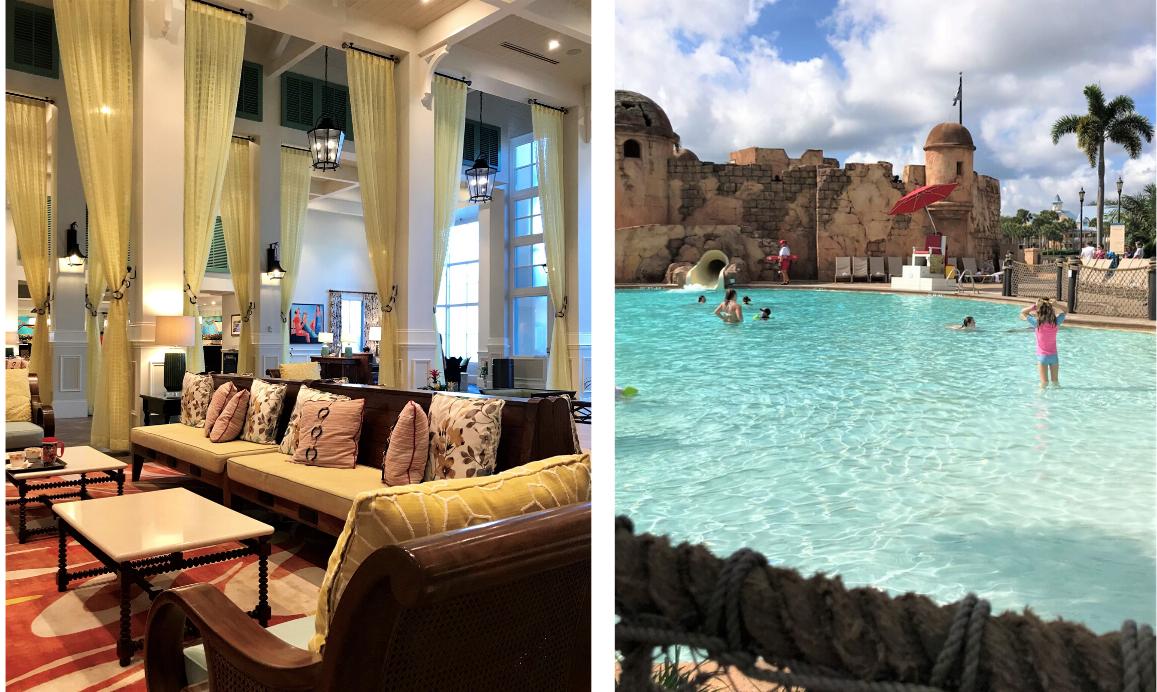 caribbean beach lobby and pool