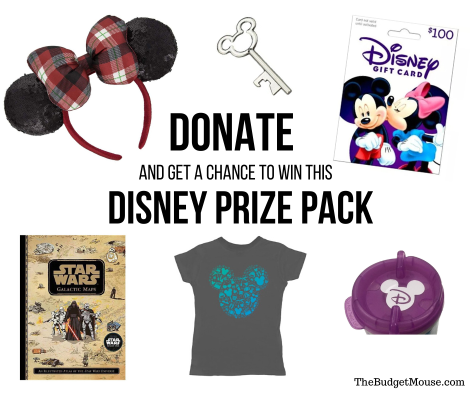 Donate and get a chance to win this Disney Prize Pack Pinterest Image