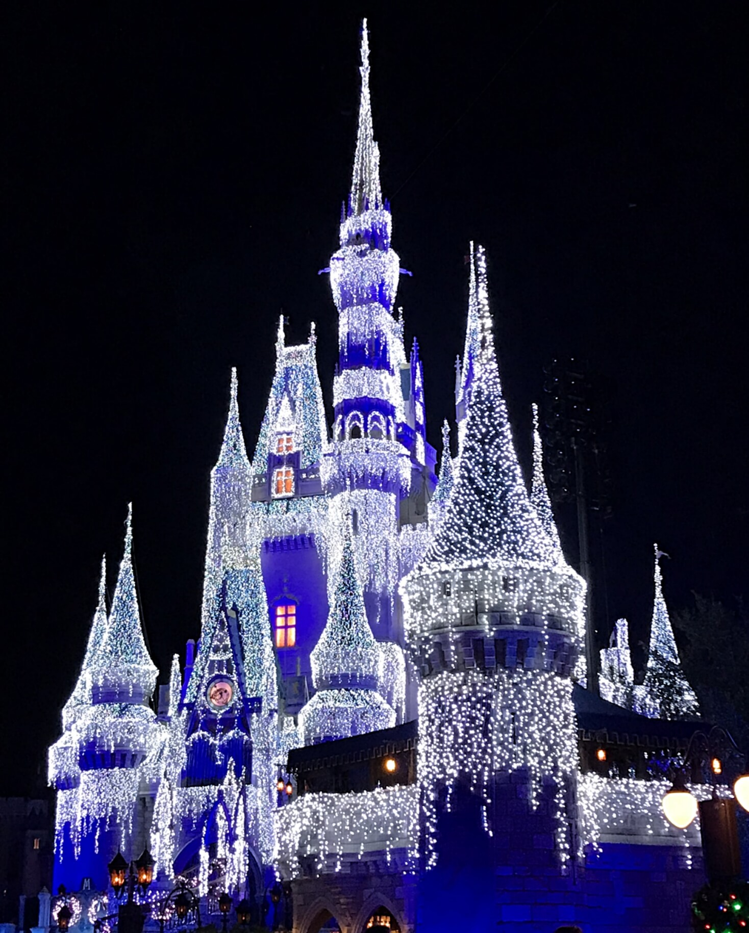 disney castle lit up at christmas time