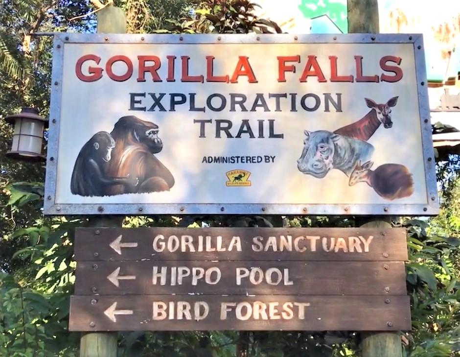 Gorilla Falls Exploration Trail Sign