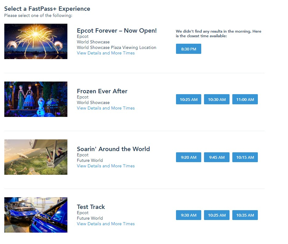 screenshot of epcot tier one fastpass options