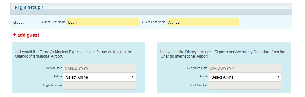 flight section of disney magical express reservations website