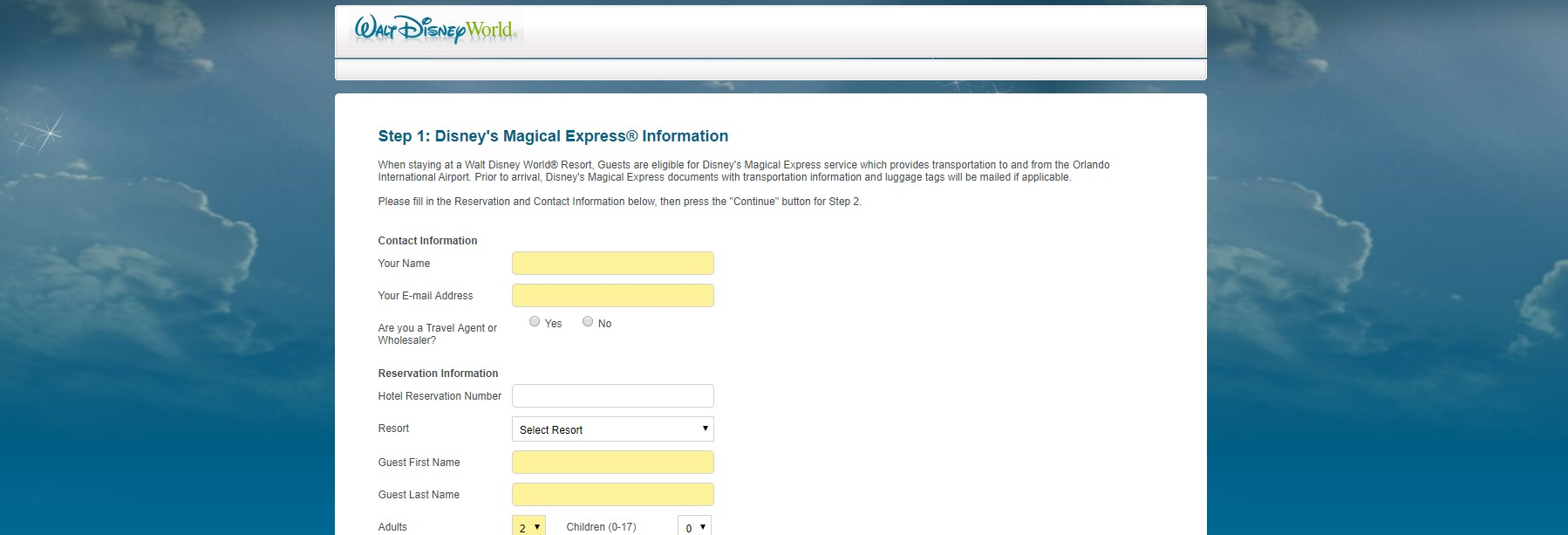 disney magical express reservations site screenshot