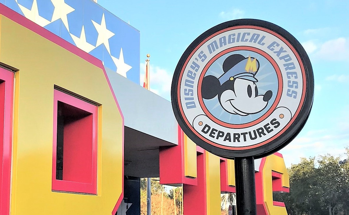 magical express departures sign at disney's all-star sports resort