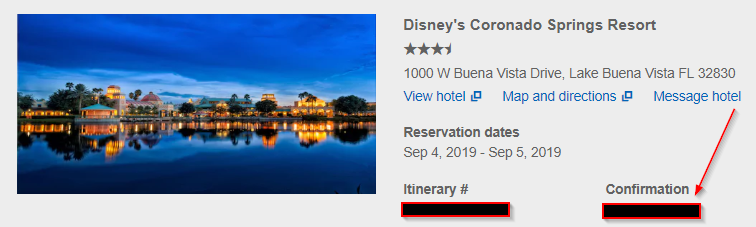 screenshot of disney confirmation number from orbitz