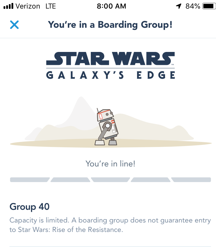 boarding group confirmation screen