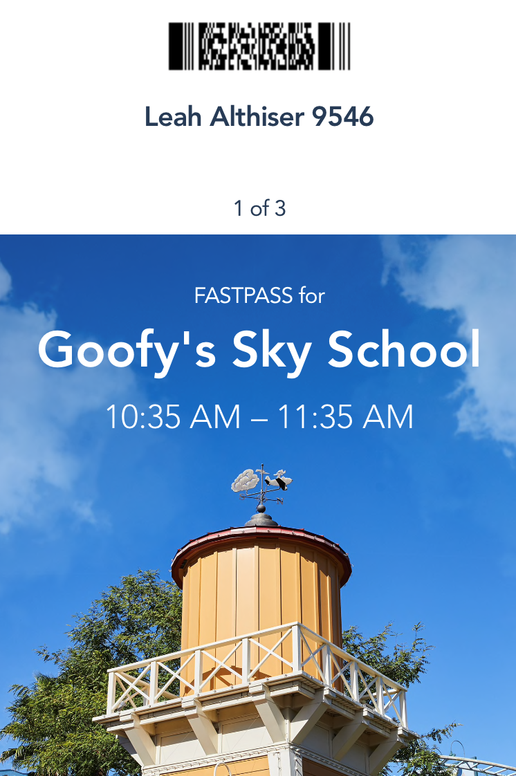 fast pass for Goofy's sky school showing time and barcode