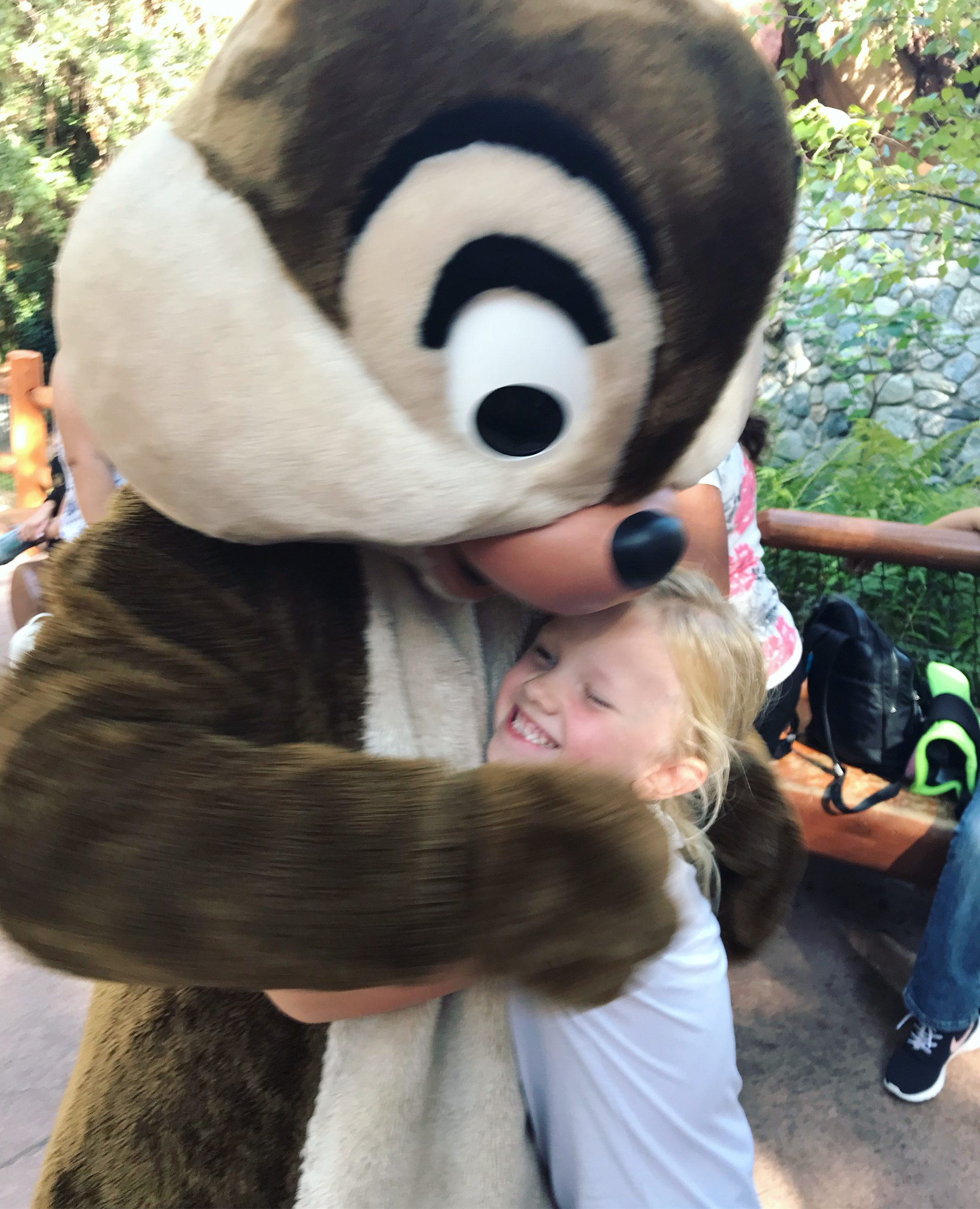 little girl hugging disney character chip (or dale)