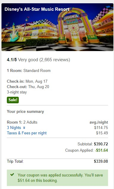 screenshot of sample booking at all star music - total $339 incld tax for 3 nights August 17-20 2020