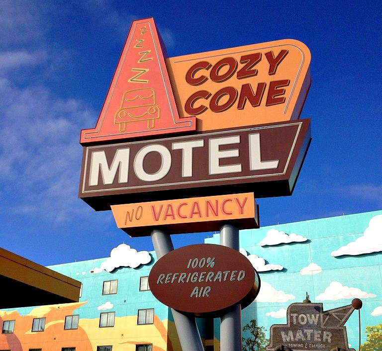 cozy cone motel sign at Disney's Art of Animation resort