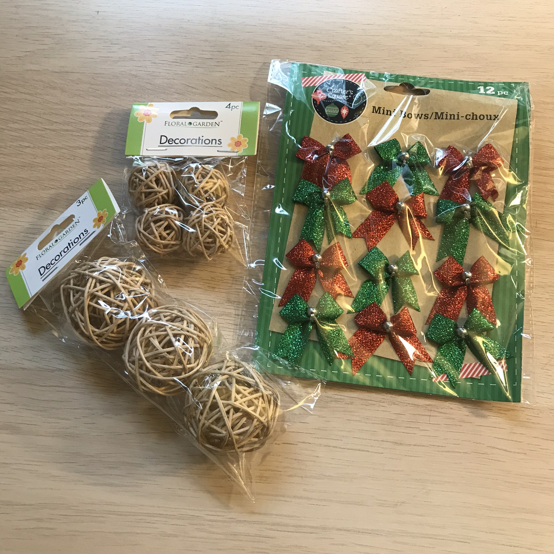 willow balls and mini bows from dollar tree