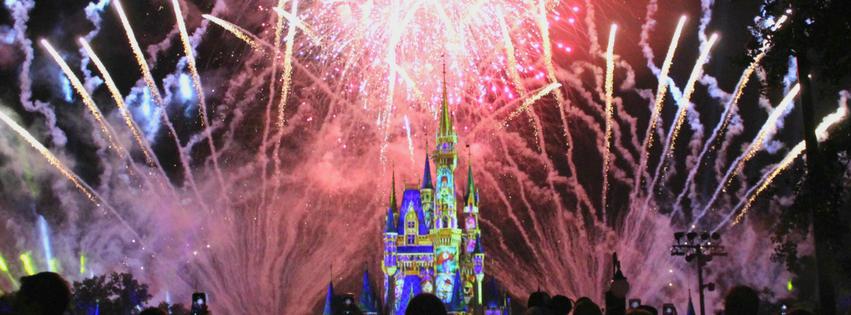 fireworks in front of castle in disney world